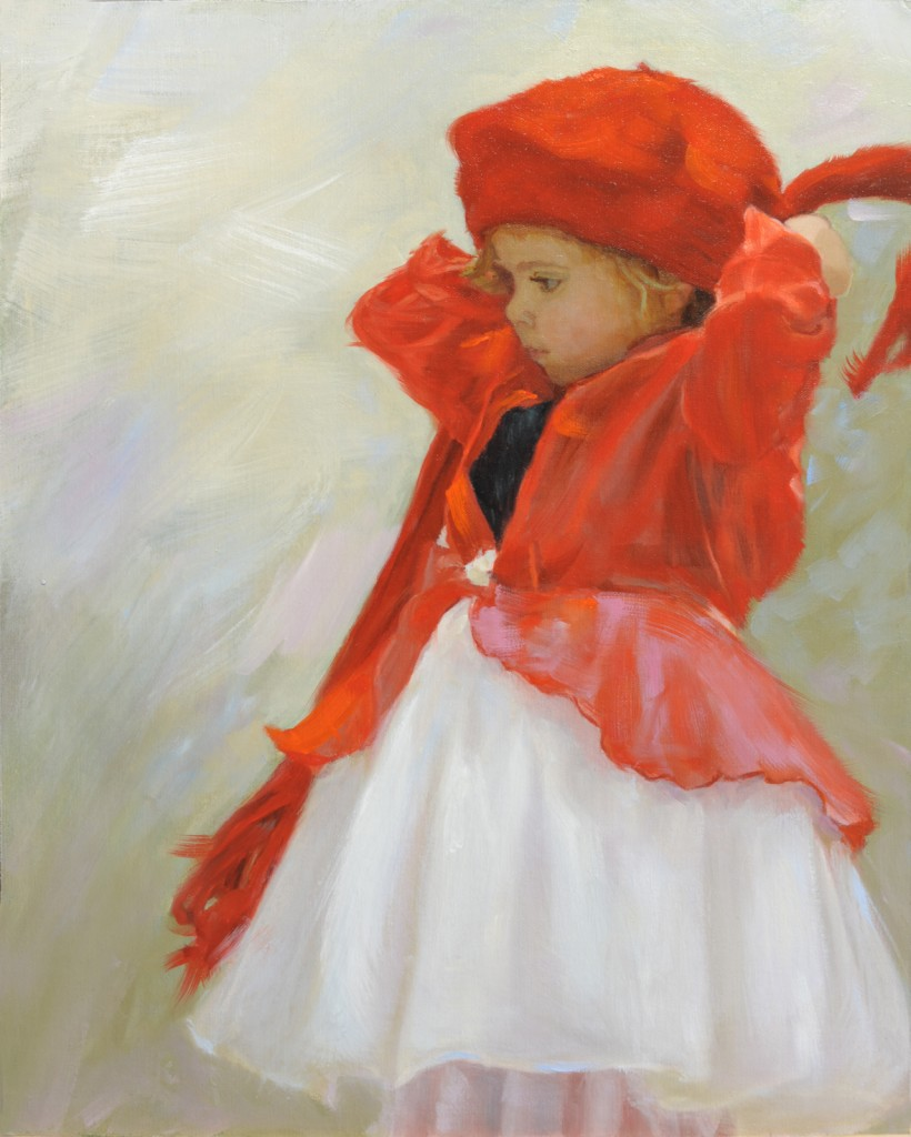RED HAT GIRL -Stunning children oil paintings by Mark E. Lovett, commission portrait painter fine artist serving Maryland, Virginia and DC.
