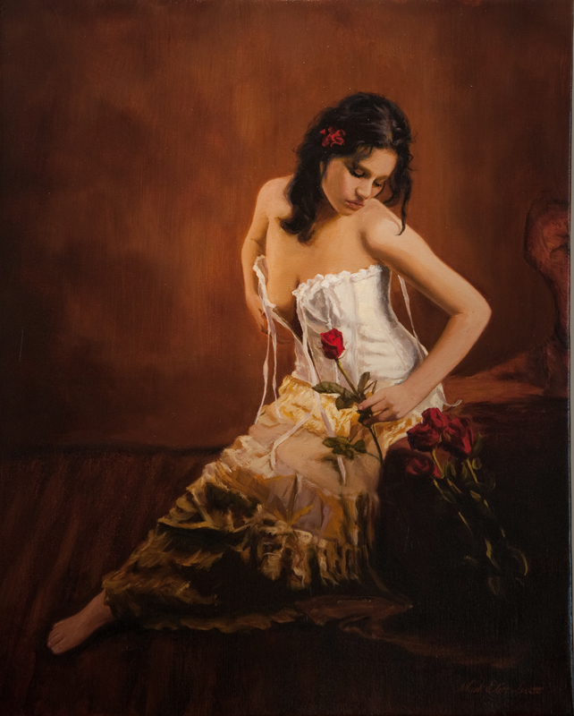 Beautiful female figure painting by Mark E. Lovett, master fine artist and commission portrait painter at marklovettstudio.com serving MD, VA, DC