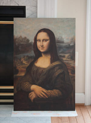 Mona Lisa painting reproduction in progress by Mark Lovett at marklovettstudio.com Gaithersburg, MD