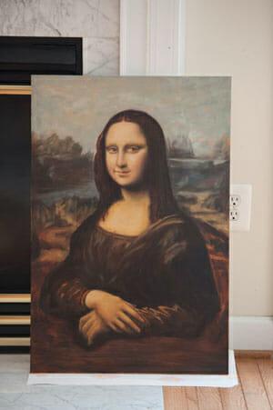 Mona Lisa painting reproduction in progress by Mark Lovett at marklovettstudio.com Gaithersburg, MD